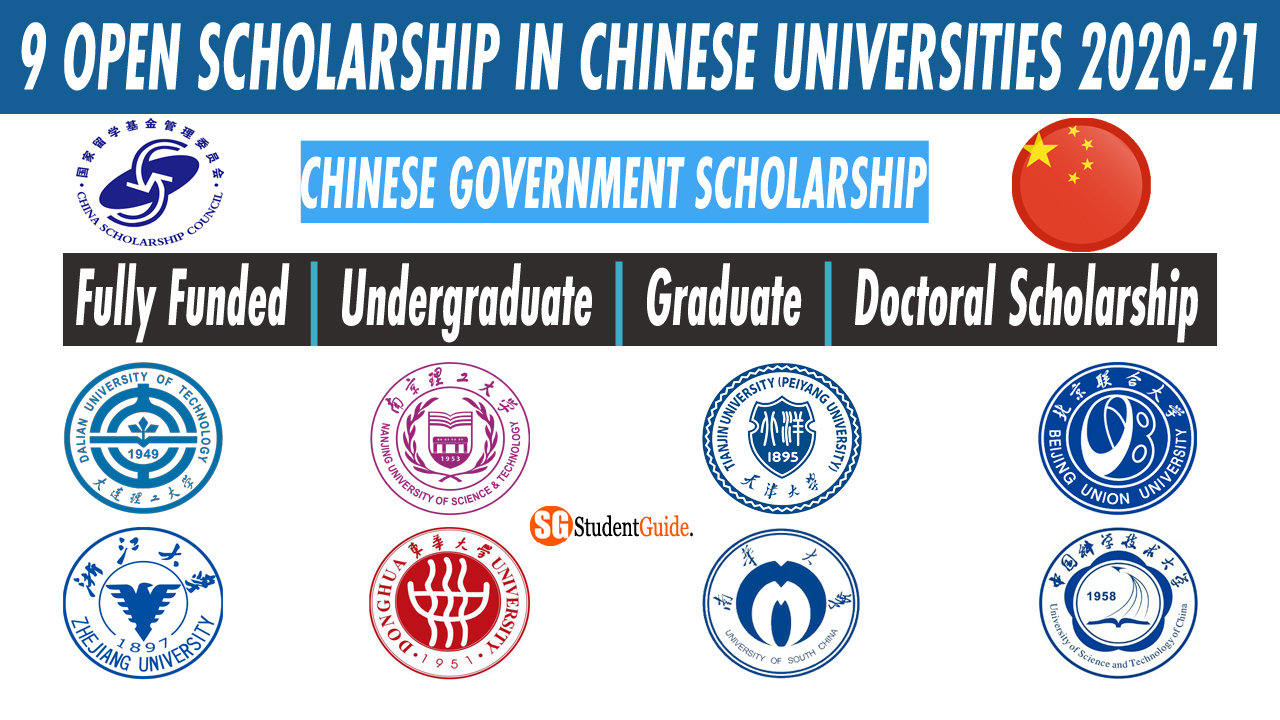 9 Open Scholarship in Chinese Universities 2020-21 For International Student