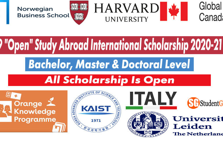 "9 ""Open"" Study Abroad International Scholarship 2020-21"