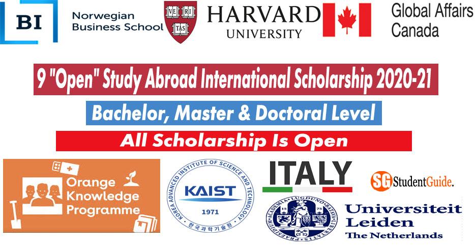"9 ""Open"" Study Abroad International Scholarship 2020-21"